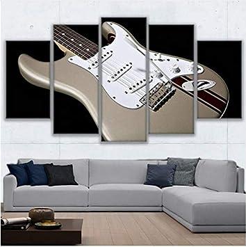 LQWE Pintura de Lienzo 3D Decoración de la Sala de Estar Arte de la Pared HD Prints Pictures 5 Piezas de Guitarra eléctrica Lienzo Pintura Instrumento de ...