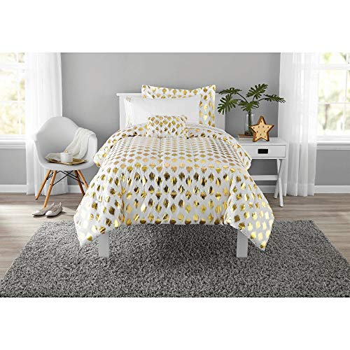 6 Piece Twin/Twin XL Gold White Comforter Set with Sheets, Metallic Bedding Set, Geometric Diamond Pattern Bed in a Bag Beautiful Trendy Decorative Girls Embroidered Ikat Glimmer Sheen Modern Bright ()