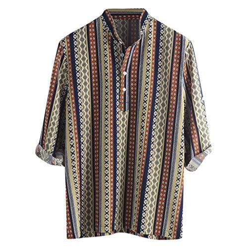 iHPH7 Men's Short Sleeve Shirts Men Ethnic Pattern Printed Half Sleeve Henley Shirts Blouse Striped Shirt (XXXL,1- Yellow)