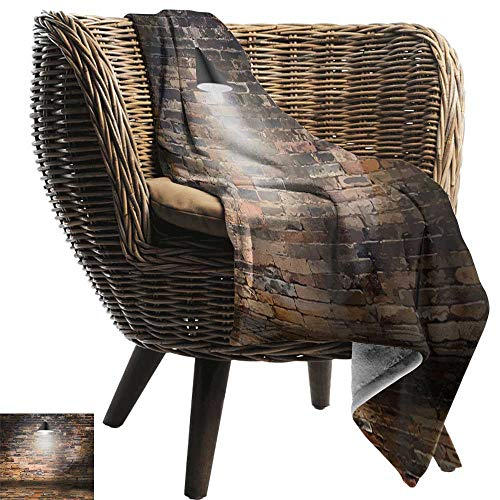 AndyTours Cool Blanket,Brick Wall,Dark Cracked Bricks and Ceiling Lamp Spot Light Life Building Urban City Image,Black Red,for Bed & Couch Sofa Easy Care 60
