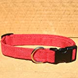 "3/4"" Red Medium Hemp Corduroy Dog Collar"