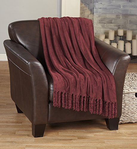 Raya Collection Ultra Velvet Plush Super Soft Blanket in Solid Colors. Lightweight, Warm Throw Blanket with Decorative Fringe. By Home Fashion Designs Brand. (Rosewood)
