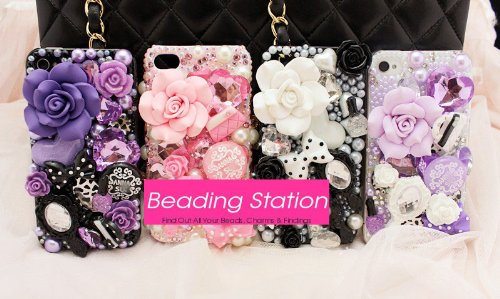 UFINDINGS - DIY 3D Bling Cell Phone Case Deco Kit : Pink Roses, Mirror, Heart and Pearls