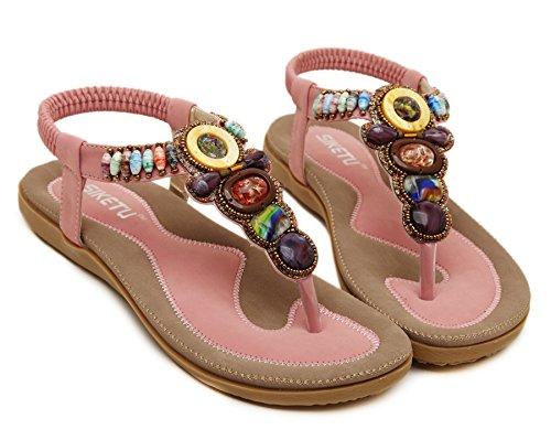 Aisun Womens Boho Con Perline Clip A Punta Morbida Elastica T Strap Sandali Infradito Infradito Scarpe Da Spiaggia Rosa