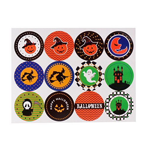 Dovewill 10 Sheets Happy Halloween Icons Seal Stickers Gift Trick or Treat Food Wrapping Bags Box Decor Envelop Labels Planner (Icon Treat)