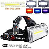 LETOUR LED Headlamp Cree T6 Headlamps Zoom 4 Brightness 6000 Lumens 500Meters Lighting Rechargeable Headlight Waterproof Running Lights Camping Lights,Golden