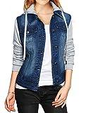 Allegra K Women Layered Drawstring Hood Denim Jacket w Pockets
