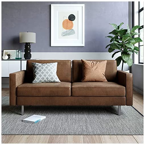 Farmhouse Living Room Furniture VASAGLE Sofa, Couch for Living Room, Synthetic Suede Fabric, for Apartment, 76 x 31.9 x 33.1 Inches, Brown farmhouse sofas and couches