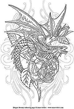 Libro da colorare Draghi Unicorni Creature mitiche Fantasy Opere darte per adulti e bambini