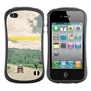 "Hypernova Slim Fit Dual Barniz Protector Caso Case Funda Para Apple iPhone 4 / iPhone 4S [Viaje Hipster Conducir Cita Vignette Sun""]"
