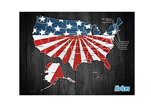 Travel Map of USA - Large & Personalized To Reveal Each Unique State License Plate As You Scratch Off For Each State You Visit.