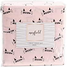 Mayfield MEOW Cat Pink and Black Sheet Set with Kitty Cat Whiskers and Ears - Kitty Cat Sheet Set (Twin)