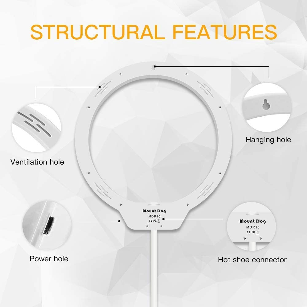 Live Streaming Make Up Beauty MountDog LED Ring Light 10 Makeup Mirror with Dimmable 3 Light Modes 3200-5500K On-Camera Light and Phone Holder Soft Tube Stand for YouTube Videos