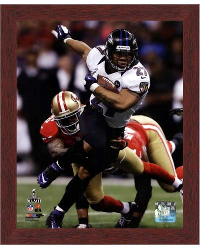 (Poster Palooza Framed Ray Rice Super Bowl XLVII Action- 8x10 Inches - Art Print (Walnut Brown Frame) )
