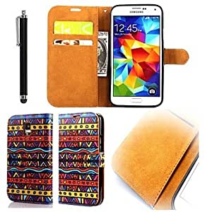 SHOUJIKE Samsung S5 I9600 compatible Graphic/Solid Color PU Leather Full Body Cases/Cases with Stand
