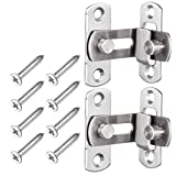 2 Large 90 Degree Right Angle Door Latch Buckles Curved Latch Bolts Sliding Lock Lever Bolts for Doors and Windows