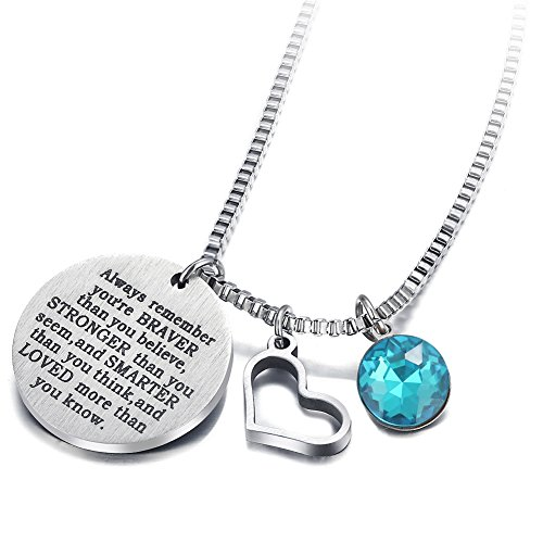 17mile March Birthstone Necklace Stainless Steel Engraved Hypoallergenic Heart Zirconia Necklace Charm for Woman Man Girl Mother