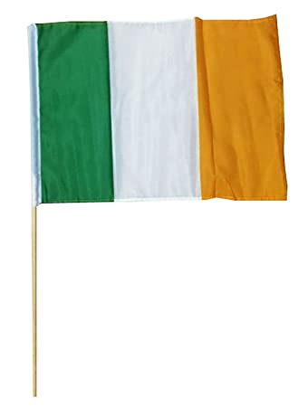 Irish National Day Flag With Wood Stick St Patrick Day Accessory 45 X 30 CM