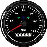 Samdo 85mm Odometer GPS Speedometer Speed Gauge Turning Lamp High Beam Lamp 120 Mp/h Mph Car Truck Vehicle