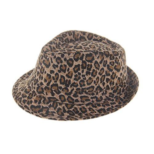 [ELee Children Kids Short Brim Canvas Fedora Panama Hat Beach Sunhat Jazz Cap (#8 Leopard)] (Leopard Cowboy Hat)