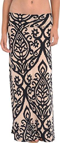 Candelabra Print Maxi Skirt, 3X, Ivory-Black