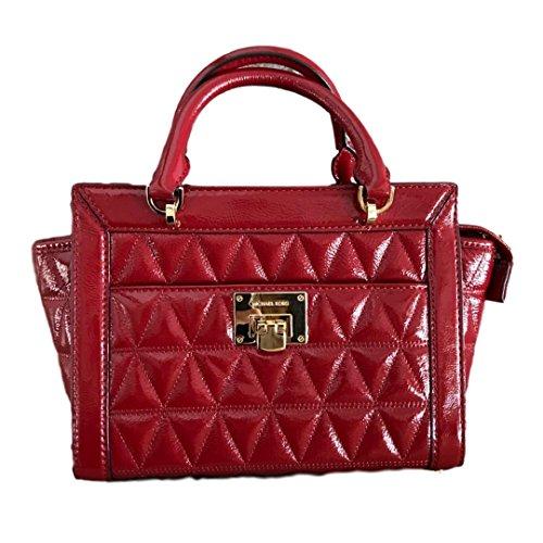 - MICHAEL Michael Kors Women's Vivianne Small Shoulder Shiny Leather Handbag Messenger (Cherry)