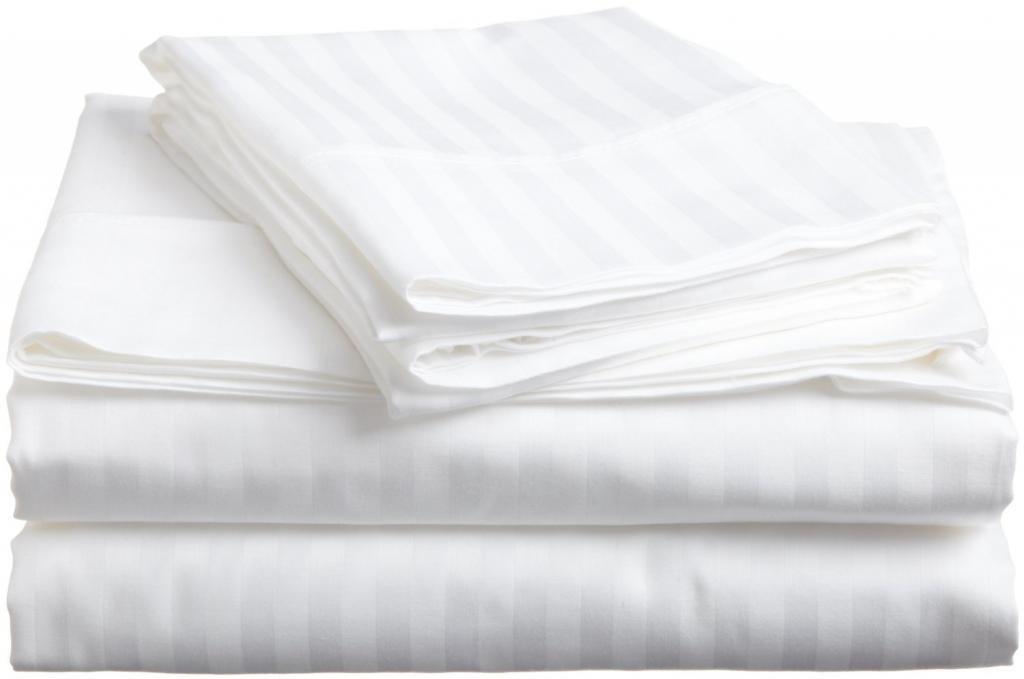 white stripe 600 Thread Count 100%Egyptian Cotton 4pcs Sheet set Pocket deep 15'Inch Full XL Size Sleepwell linen