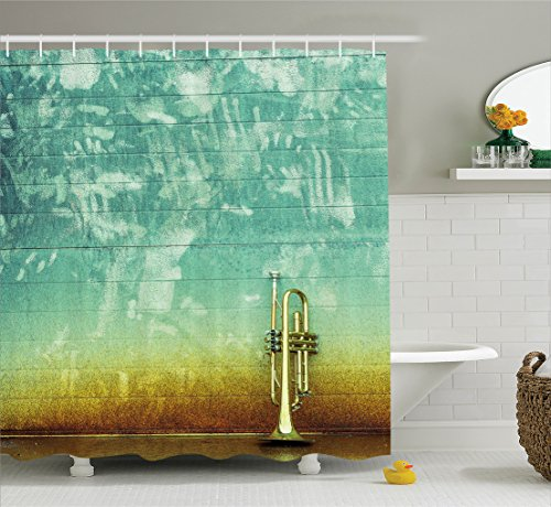 (Music Decor Shower Curtain Set By Ambesonne, Old Aged Worn Single Trumpet Stands Alone Against A Faded Wall Jazz Music Theme Photo, Bathroom Accessories, 69W X 70L Inches, Sea Green Brown)
