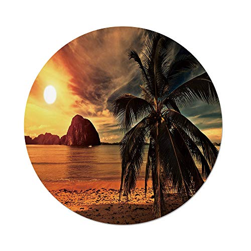 iPrint Polyester Round Tablecloth,Tropical,Exotic Beach with Coconut Palm Tree and Horizon Sunset Calm Panorama,Orange and Olive Green,Dining Room Kitchen Picnic Table Cloth Cover,for Outdoor Indoor