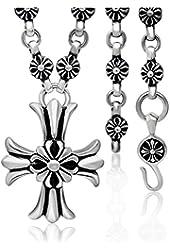 Mens Titanium Steel Mens Vintage Necklace with 60pcs Cross Flower Grains