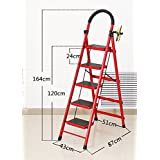 Step Stool Folding Step Ladder with Handle and Non-Slip feet Home Folding Ladder Adult red Portable Folding Footstool / 4 Size Options (Size : 43 * 87 * 164cm)