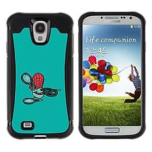 Suave TPU Caso Carcasa de Caucho Funda para Samsung Galaxy S4 I9500 / Cute Cartoon Character Teal Kids Child / STRONG