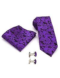 Corbata Conjunto para Hombres Seda con Pañuelo Gemelos Tie Paisley Boda de Negocios Azul marino/Púrpura/Azul Cielo