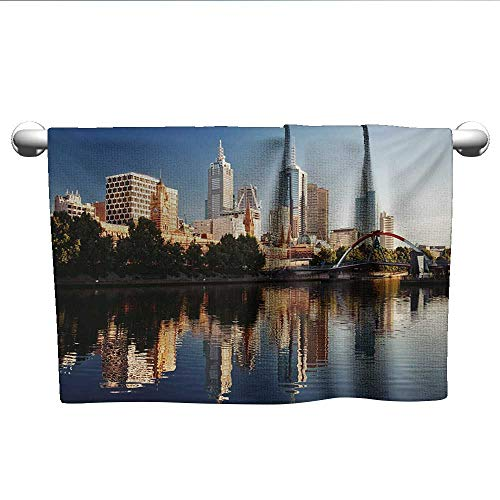 - alisoso City,Dish Towels Idyllic View of Yarra River Melbourne Australia Architecture Tourism Beach Towels Dark Blue Ivory Dark Green W 28