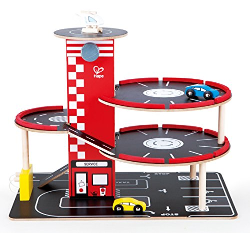 Hape Garage Play Set Toddler Wooden Play Vehicle Set