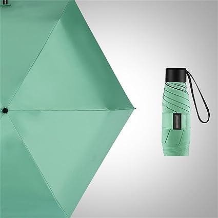 Mini Paraguas portátil Ultra Ligero, protección UV Cinco Paraguas Plegable, Verde Rosa Rojo Amarillo