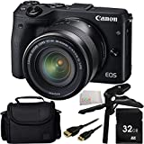 Canon EOS M3 Mirrorless Digital Camera with EF-M 18-55mm f/3.5-5.6 IS STM Lens (Black) 32GB Bundle 5PC Accessory Kit. Includes 32GB Memory Card + Pistol Grip/Table Top Tripod + Mini HDMI Cable + Carrying Case + Microfiber Cleaning Cloth