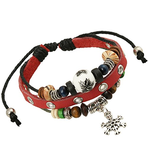 Line Round Glass Bead (TEMEGO Jewelry Mens Womens Alloy Genuine Leather Surfer Wrap Bracelet, Vintage Beads Hollowed Snowflake Charm Cuff Bracelet, Adjustable Fits 7-12)