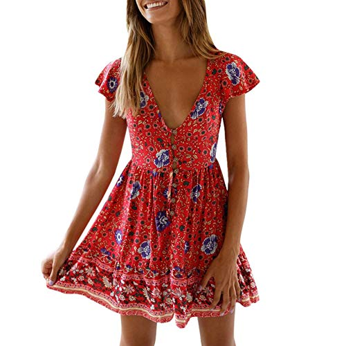 Women V Neck Low Cut Dress Button Ruffle Boho Floral Print Short Sundress Mini Dress by Lowprofile Red