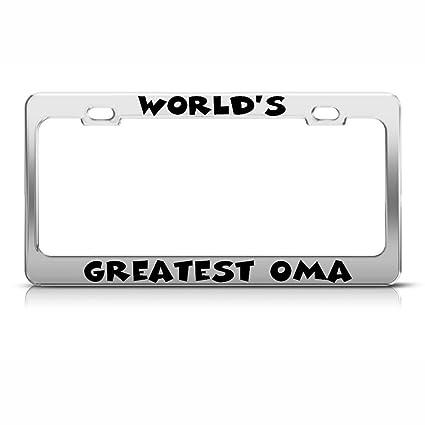 Amazon.com : Worlds Greatest Oma Chrome License Plate Frame Tag ...