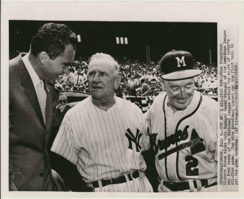 Richard Nixon with Casey Stengel (in a New York Yankees uniform) & Fred Haney (in a Milwaukee Braves uniform) - at the 1958 All-Star Game (8