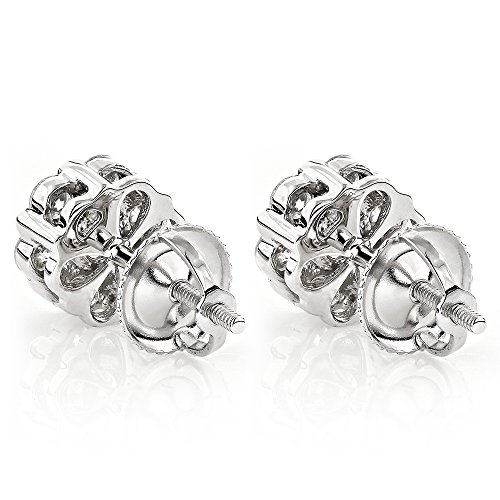 Luxurman Ladies 14k Gold Natural Diamond Clusters Earrings Studs For Her (White Gold)