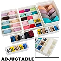 Adjustable Drawer Organizers (6 Set) With Customizable Dividers in Stackable Durable Plastic for Underwear Crafts...