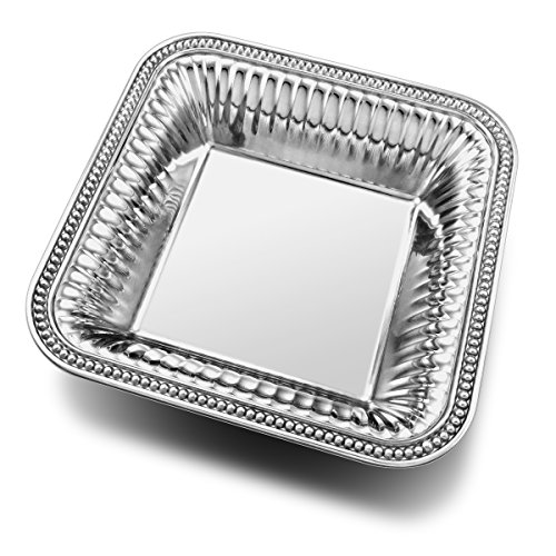 - Wilton Armetale Flutes and Pearls Medium Square Serving Bowl, 12-Inch