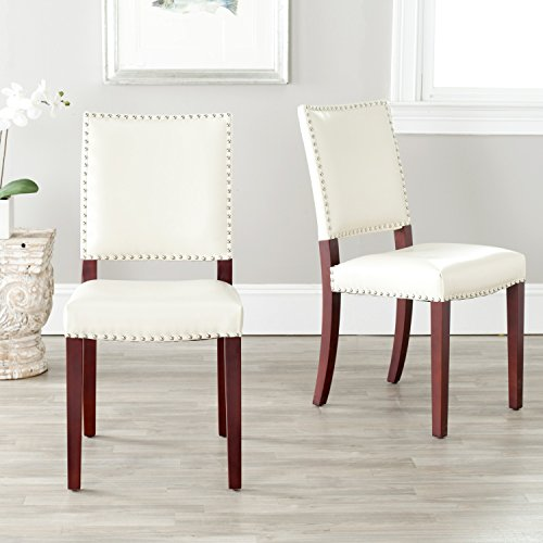 4 Cream Leather Chairs - Safavieh Mercer Collection Colette Leather Side Chairs, Cream, Set of 2