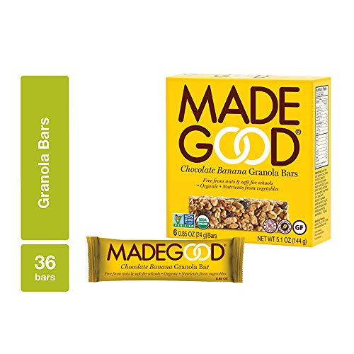 MadeGood Chocolate Banana Granola Bars, 6 pack (36 bars); Contain Nutrients of a Full Serving of Vegetables; Gluten Free Oats, Rich Dark Chocolate and Ripe Banana Form Chewy, Organic Snack