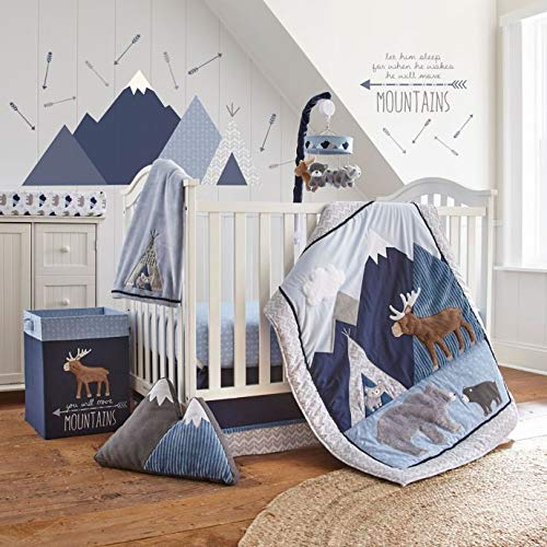 Fitted Sheet Emerson Crib Bed Set Levtex Baby Navy Animal Adventure 4 Piece Set Includes Quilt Wall Decal /& Dust Ruffle Blue Grey and Tan Baby Nursery Set