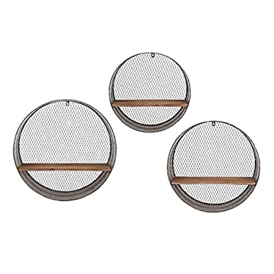 IMAX Laurel Round Wall Shelves - Set of 3 - Set includes 3 sizes Sizes range from 16.25-21.25 diam. in. Constructed of iron - wall-shelves, living-room-furniture, living-room - 51GSkk9trCL. SS400  -