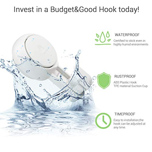 BUDGET & GOOD Suction Cup Hooks 4 Pack Powerful Shower Vacuum Suction Cup Multi-use for Kitchen Utensils Bathroom Loofsh Outdoor Window Living Room Office Storage by BUDGET & GOOD (Image #3)