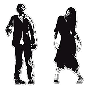 "Pack of 24 Black & White Double Sided Eerie Zombie Silhouette Halloween Cutouts - 34"" - 36"""
